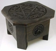 Decorated with a Celtic styled pentagram, it not only provides you with an altar table for the focus of all of your rituals and spells, but offers storage space as well with a pull-out drawer. This makes it perfect for any practitioner.  www.ancient-wisdoms.com