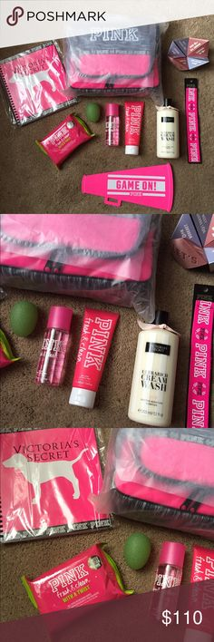VS PINK shower essentials No trades/holds. Price is firm unless bundled.  *please excuse the green ball, my trademark :P  **Before you ask-this listing will only be sold as a SET BUNDLE***   ~ VS PINK shower caddy ~ vs pink planner ~ vs pink fresh and clean refreshing wipes  ~ vs pink fresh and clean mini body mist 2.5 fl oz ~ vs pink fresh and clean mini body lotion 3.4 fl oz ~ vs pink origami game  ~ vs pink headband  ~ vs Acai body care cream wash ~ vs pink game on flyer (if you want it)…