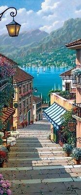 Fototapete Türtapete Dorf am See Bellagio Village Italien Treppe Hafen
