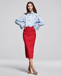 #Valentino Long-Sleeve Embroidered Poplin Blouse, Blue/White