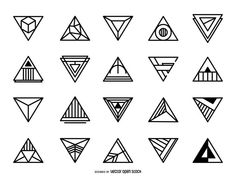 Collection of triangular logos. Designs feature different geometric details and styles. Great for logos, labels, stickers, vinyls and more! Sacred Geometry Symbols, Geometric Symbols, Geometric Logo, Triangle Vector, Triangle Logo, Triangle Design, Celtic Fonts, Art Deco Logo, Elements Of Art