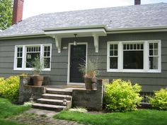 Bungalow exterior paint color: Benjamin Moore Sharkskin-- would look cute with our lime green door!