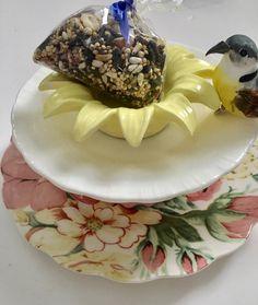 Repurposed Dish Bird Feeder Yellow Flower Trinket Dish by mscenna