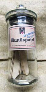 Nazi WWII medical bottle containing Tongue Depressors (Mundspatel)