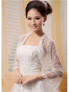 Long Poet Fantastic Sleeve White Lace Wedding Bolero Jacket with Floral Edge(21202) Bendigo