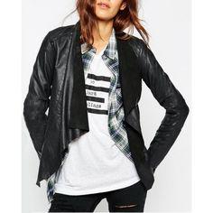$17.28 Stylish Long Sleeve Solid Color Asymmetrical Women's Jacket