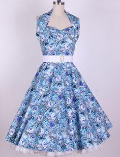 1950s Pinup Halterneck Swing Dress 201304023