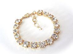 Gold crystal bracelet  Clear crystals  Bridal by QueenMeJewelryLLC