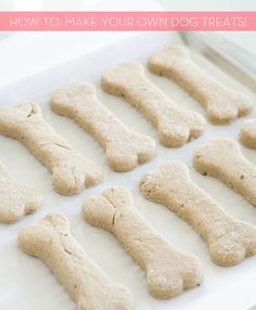 "DIY dog treats... just two ingredients. Super simple, fun to make...I just finished these and they were pretty simple. I didn't have a bone cookie cutter so I used the baby food jar, cut them into round shapes and used my fingers to make ""paw prints"" on them."