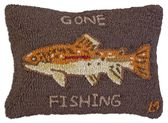 """Gone Fishing Brown Trout 14""""x20"""" Hooked Wool Pillow"""