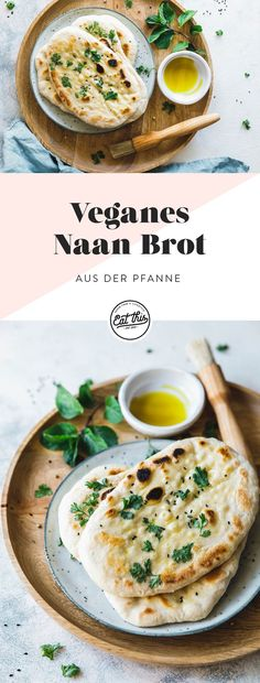 Veganer Naan Brot aus der Pfanne - Eat this! Brunch Recipes, Healthy Dinner Recipes, Healthy Snacks, Breakfast Recipes, Vegetarian Recipes, Bakery Recipes, Vegan Breakfast, Breakfast Pizza, Vegetable Recipes