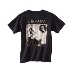 Men's  Nirvana T-Shirt Black, Men's ($13) ❤ liked on Polyvore featuring men's fashion, men's clothing, men's shirts, men's t-shirts, black and mens t shirts