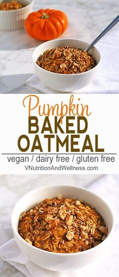 Vegan Baked Pumpkin Oatmeal | This vegan baked pumpkin oatmeal is a tasty and healthy breakfast option. Full of pumpkin-y goodness, it's a perfect for fall! | Check out the recipe now or pin for later!