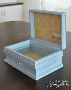 Wooden jewelry box upcycled into a pretty paper lined Trinket or Remote Control Storage Box