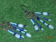 blue catseye earrings by BeadingByJenn on Etsy, $7.25