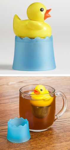 Duckie tea infuser shaped like a yellow rubber (silicone) duck, with blue drip tray/holder