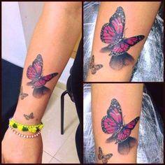 Tatuagem borboleta - What if i fall - 3d Tattoos, Baby Tattoos, Wrist Tattoos, Flower Tattoos, Body Art Tattoos, Sleeve Tattoos, Tatoos, Realistic Butterfly Tattoo, Butterfly Tattoos For Women