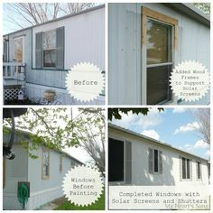 My Heart's Song: Mobile Home Exterior - Before/After (great idea using the solar screening in hot climates)