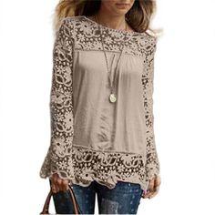 Oversized Plus Size 5XL Shirt Chiffon Blusa Sexy Hollow Lace Splice Women Tops Long Sleeve Shirt Women Casual Blusas Women Tees #Affiliate