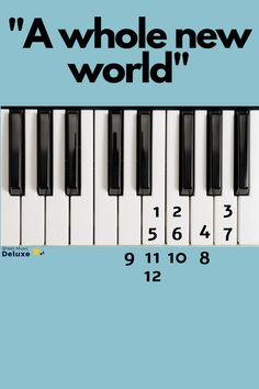"Learn ""A Whole New World"" piano keys by numbers. A Whole New World from the Disney movie Aladdin. Piano Music With Letters, Piano Sheet Music Letters, The Piano, Piano Music Notes, Easy Piano Sheet Music, Music Chords, Piano Tutorial, Piano Keys, Piano Lessons"