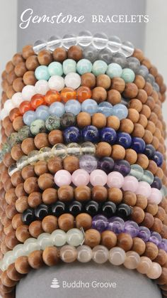 Scented sandalwood beads mix with healing stones for an intentional practice with these stretch bracelets. Seed Bead Jewelry, Bead Jewellery, Cute Jewelry, Beaded Jewelry, Jewlery, Beaded Braclets, Gemstone Bracelets, Bracelet Crafts, Jewelry Crafts