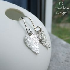 Textured Petals Sterling Silver Earrings - Handmade Stamped Metalwork Jewellery £24.00