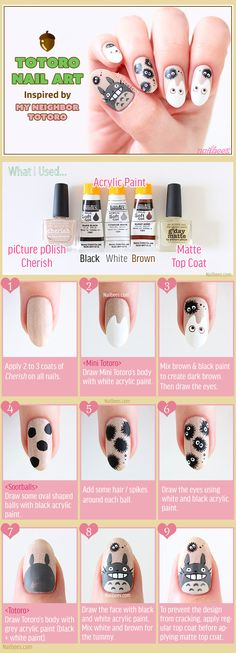 Best Ideas For Makeup Tutorials Picture Description Totoro Nail Art Tutorial – - MarieClaire Kawaii Nail Art, Cute Nail Art, Nail Art Diy, Diy Nails, Cute Nails, Kawaii Diy, Anime Nails, Manicure Y Pedicure, Trendy Nails