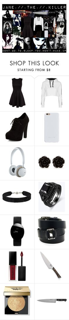 """Jane the Killer"" by laughingjacksdaughter ❤ liked on Polyvore featuring Topshop, New Look, Felony Case, Jays, Erica Lyons, She.Rise, Rado, Hermès, Smashbox and Crate and Barrel"