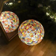 Unique Calypso globe lamp made from up-cycled coloured glass fragments. These funky pieces make perfect bedside lamps or can be used to create warm accent lighting in living rooms or hallways. Color Pop, Colour, Globe Lamps, Christmas Delivery, Bedside Lamp, Christmas Bells, Colored Glass, Stained Glass, Spirit