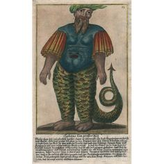 Typhon, half man, half serpent, is described in the caption as a gigantic and powerful monster from whom the gods fled in terror to Egypt, where out of fear they transformed themselves into beasts; Typhon was finally subdued by thunderbolts thrown by Zeus, and buried beneath Mt. Etna. This is a from a set of 205 theatrical costume designs for beasts and monsters from Greek mythology from a collection by Johann Messelreuter published in Germany in 1723. Art Nouveau, Art Deco, Pictorial Maps, Half Man, Sicilian, Antique Prints, Greek Mythology, Natural History, Costume Design