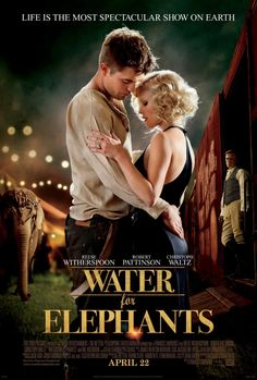 Water for Elephants - Really liked this one, even with Robert Pattinson as a lead. Not sure he and Reese Witherspoon had the best chemistry, but I liked the movie. Hard to argue with a film that has a lovable elephant that steals the show. See Movie, Movie Tv, Movie List, Book Tv, The Book, Good Books, Books To Read, Water For Elephants, Chick Flicks