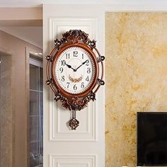 Zzyff Practical European Vintage Carved Red Brown Wall Clock Living Room Bedroom Porch American Antique Glass Mute Mute Non-Ticking Wall Clock with Pendulum Pendulum Wall Clock, Clock Wall, Brown Wall Clocks, Retro 2, European American, Chic Shop, Brown Walls, Antique Glass, Living Room Bedroom