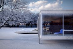 Farnsworth House (Mies vdRohe)  Mike Dugenio Hansen  Beautiful shots of the house in the snow. House and nature become one..