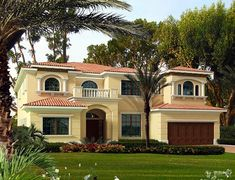 Mediterranean Luxury With Cabana - thumb - 02 Mediterranean Homes Exterior, Mediterranean House Plans, Mediterranean Home Decor, Exterior Homes, Cabana, My House Plans, Mansion Interior, Spanish Style Homes, Tuscan House