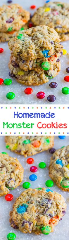 Homemade Monster Cookies- are oatmeal cookies that are loaded with M&Ms, chocolate chunks, and toffee pieces.