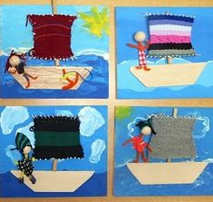 segel weben für jungs Yarn Crafts For Kids, Diy And Crafts, Textile Fabrics, Textile Art, Weaving For Kids, Valentine Day Crafts, Art Classroom, Art Plastique, Teaching Art