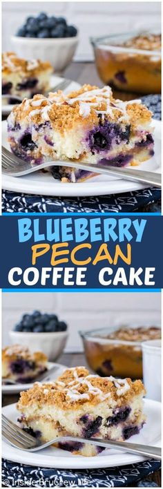 Blueberry Pecan Coffee Cake - this sweet cake is loaded with fruit and nuts. It makes a great breakfast recipe for a weekend brunch! #blueberrycake #pecancake #coffeecake