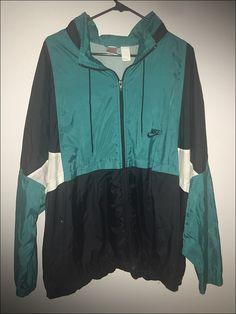 Vintage 90's Nike Grey Black Turquoise Windbreaker Jacket - Size 2XL by RackRaidersVtg on Etsy