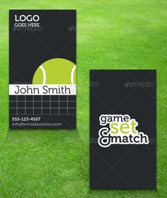 Buy Tennis Business Card by teambudgie on GraphicRiver. Tennis themed business card with bleed marks. CMYK ready for print. Easy to edit information and full. Print Templates, Light In The Dark, Sport Tennis, Business Cards, Graphic Design, Maine, Grass, Contrast, Health
