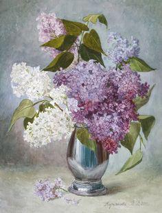 Viktoria Kiryanova (b.1977) —Lilacs in a Silver Vase, 2013  (607x800)