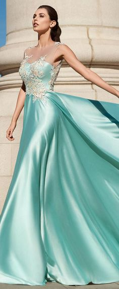 Magbridal Attractive Acetate Satin Jewel Neckline A-line Prom Dress With Lace Appliques & Flowers With Beadings Fancy Wedding Dresses, A Line Prom Dresses, Satin Dresses, Ball Dresses, Lace Dress, Ball Gowns, Dress Prom, Silk Evening Gown, Evening Dresses