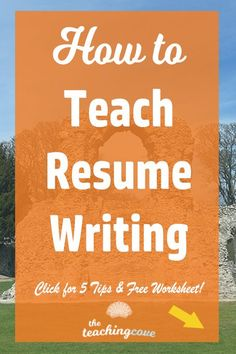 How To Teach Resume Writing: 5 Tips – The Teaching Cove Would you like to teach your students how to write resumes? Writing A Cv, Resume Writing Tips, Resume Tips, Writing Workshop, Teaching Writing, Resume Examples, Teaching Tips, Teaching English, Free Resume