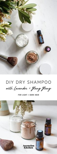 A cheap and simple DIY dry shampoo for light and dark hair – scented with lavender and ylang ylang essential oils to promote healthy locks. Hair DIY Dry Shampoo with Lavender & Ylang Ylang Hair Product Storage, Diy Shampoo, Doterra Shampoo, Doterra Oils, Natural Dry Shampoo, Natural Haircare, Essential Oils For Pain, Natural Beauty Recipes, Grow Hair