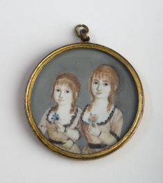 Circa 1795 Miniature of Two Sisters little girls children