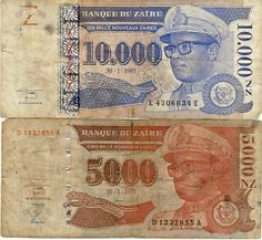 Zaire 5000 And 1000 NZ Notes