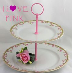 2 Tier Cake Stand Pink Floral China Tiered Serving by SimplyChina