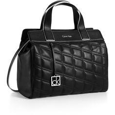 Calvin Klein Women's Kora Satchel ($125) ❤ liked on Polyvore featuring bags, handbags, black, calvin klein bags, calvin klein satchel, structured purse, structured satchel handbag and quilted handbags