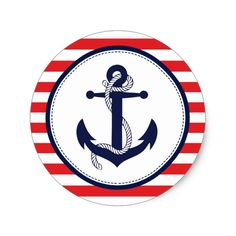Red and Navy Blue Ahoy Nautical Anchor Classic Round Sticker Custom Spooky Halloween Stickers Nautical Anchor, Nautical Party, Lucas Gabriel, Apollo 1, Eid Cards, Custom Stickers, Custom Decals, New Baby Cards, Halloween Stickers