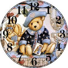 Diamond Painting Cross Stitch Cartoon Bear Doll Diy Full Diamond Embroidery Needlework Diamond Mosaic Home Decor Clock Face Printable, Making Wooden Toys, Unusual Clocks, Teddy Bear Pictures, Stitch Cartoon, Decoupage Vintage, Bear Doll, Cross Paintings, Vintage Labels