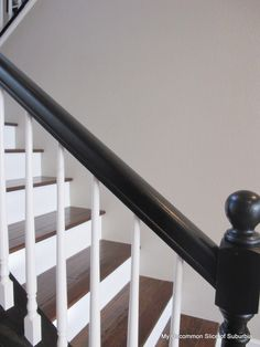 painted stair rails Black rail, white stairs exactly how I want mine to look. - painted stair rails Black rail, white stairs exactly how I want mine to look. House Design, Stair Railing, Home, Stairways, Handrail Design, Staircase Handrail, Black Railing, Painted Stairs, Painted Staircases